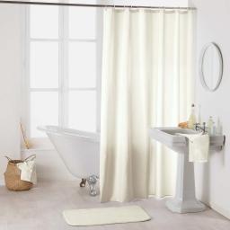 Rideau de douche avec crochets 180 x 200 cm polyester uni essencia Naturel