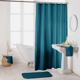 Rideau de douche avec crochets 180 x 200 cm polyester uni essencia Petrole