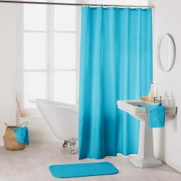 Rideau de douche avec crochets 180 x 200 cm polyester uni essencia Turquoise