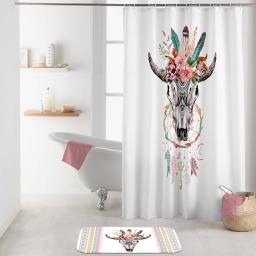 rideau de douche +crochets 180 x 200 cm polyester imp. buffle spirit des. place