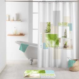 rideau de douche +crochets 180 x 200 cm polyester imp. nature douceur des. place
