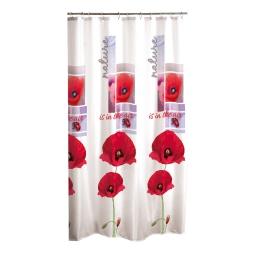 rideau de douche textile 180x200cm douceur d'interieur design coquelicots