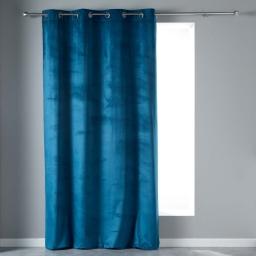 Rideau en velours uni 140 x 240 cm velours veloutea Bleu