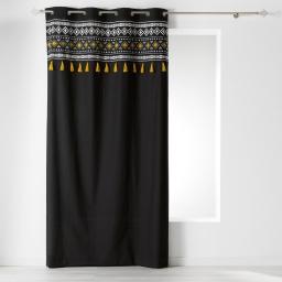 rideau noir et jaune à oeillets 140 x 240 cm coton + pompons talismania