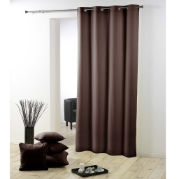 Rideau pas cher 140 x 260 cm polyester uni essentiel polyester uni essentiel Marron Chocolat