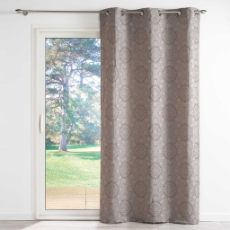 Rideau tamisant a oeillets 140 x 260 cm jacquard bicolore imperial Taupe