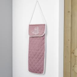 Sac a pain matelasse 27 x 70 cm polyester brode bonheur Rose/Blanc