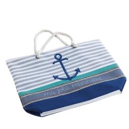 Sac de plage 51 x 38 x 14 cm toile imprimee matelot Bleu