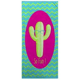 serviette de plage 70 x 150 cm eponge velours imprime cactus fun