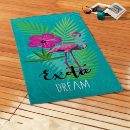 serviette de plage 70 x 150 cm eponge velours imprime exotic dream