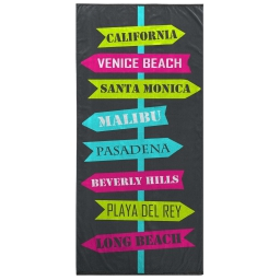 serviette de plage 70 x 150 cm eponge velours imprime long beach