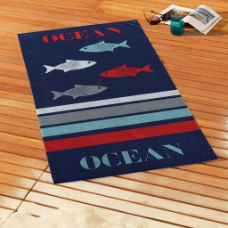 serviette de plage 70 x 150 cm eponge velours imprime ocean