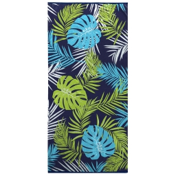 serviette de plage 70 x 150 cm eponge velours imprime palmista