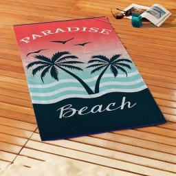 serviette de plage 70 x 150 cm eponge velours imprime paradise