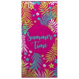 serviette de plage 70 x 150 cm eponge velours imprime sunny time