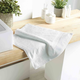 Serviette de toilette 50 x 90 cm eponge 500 grammes colors Blanc