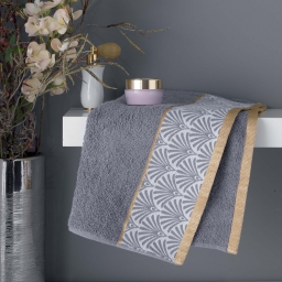 Serviette de toilette 50 x 90 cm eponge absorbante goldy Gris/or