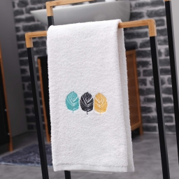 Serviette de toilette 50 x 90 cm eponge brodee fougerys Blanc