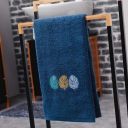 Serviette de toilette 50 x 90 cm eponge brodee fougerys Bleu