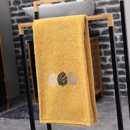 Serviette de toilette 50 x 90 cm eponge brodee fougerys Jaune