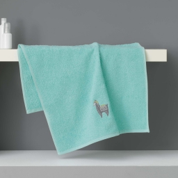Serviette de toilette 50 x 90 cm eponge brodee lamalima Vert D'eau