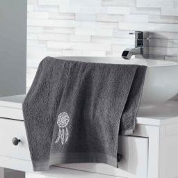 Serviette de toilette 50 x 90 cm eponge brodee talisman Anthracite