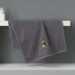 Serviette de toilette 50 x 90 cm eponge brodee toucalaos Anthracite