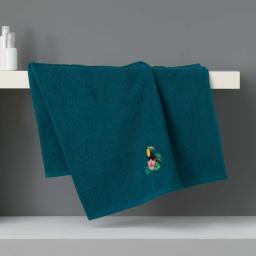 Serviette de toilette 50 x 90 cm eponge brodee toucalaos Bleu