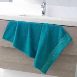 Serviette de toilette 50 x 90 cm eponge unie jacquard adelie Bleu