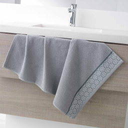 Serviette de toilette 50 x 90 cm eponge unie jacquard adelie Gris