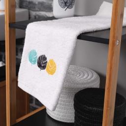 Serviette invite 30 x 50 cm eponge brodee fougerys Blanc