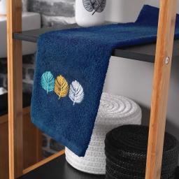 Serviette invite 30 x 50 cm eponge brodee fougerys Bleu
