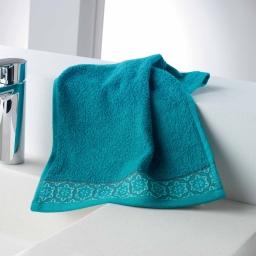 Serviette invite 30 x 50 cm eponge unie jacquard adelie Bleu