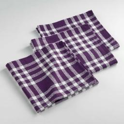 Serviettes de table /3 45 x 45 cm coton tisse traditio Prune