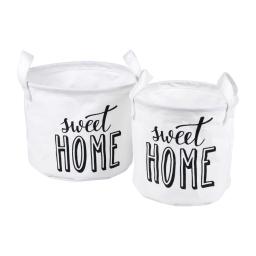 set 2 panieres rangement canvas ø19*h16cm/ø22*h18cm sweet home blanc