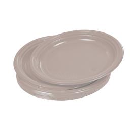set 20 assiettes plates ps ø22cm - taupe