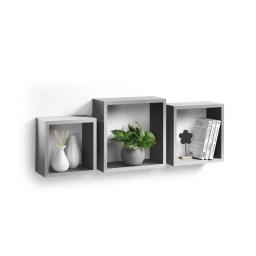 Set 3 cubes gigognes  23 x 23/26.5 x 26.5/30 x 30 cm epaisseur 1.5 cm Argent