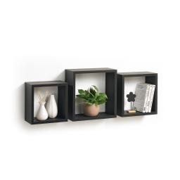 Set 3 cubes gigognes  23 x 23/26.5 x 26.5/30 x 30 cm epaisseur 1.5 cm Noir