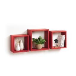 Set 3 cubes gigognes  23 x 23/26.5 x 26.5/30 x 30 cm epaisseur 1.5 cm Rouge