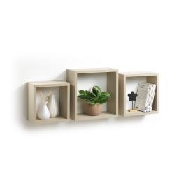 Set 3 cubes gigognes  23 x 23/26.5 x 26.5/30 x 30 cm epaisseur 1.5 cm Taupe
