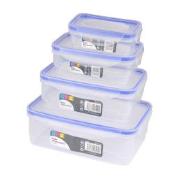 set 4 boites alimentaire clips rect+couvercles tp joint bleu 240/520/970/1640ml