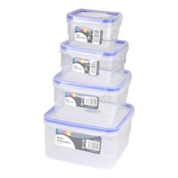 set 4 boites alimentaires clips carrées+couv tp joint bleu 400/740/1290/2060ml