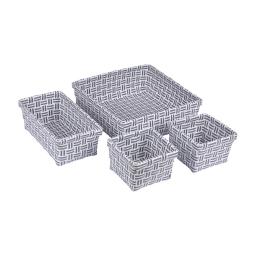 set 4 paniers tressé plastique 11/21/23cm sweet home bicolore anthracite/blanc