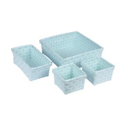 set 4 paniers tressé plastique 11/21/23cm sweet home bicolore vert menthe/blanc