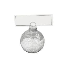 set 4 porte nom decore av carte-verre-tp av billes dans boule+design flocon- 4cm