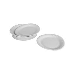 set 50 assiettes en carton 18cm - blanc - 250grs/m² - chromotriplex