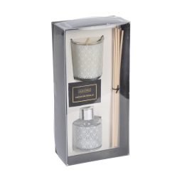 set bougie verrine 5.5*h6.5cm + diffuseur 50ml elegant blanc parfum ambre
