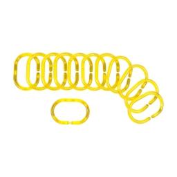 set de 12 anneaux pour rideau de douche plastique translucide vitamine jaune
