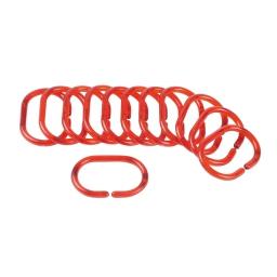 set de 12 anneaux pour rideau de douche plastique translucide vitamine rouge