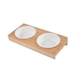 Set de 2 gamelles ceramique + support bambou naturel ø12cm 29,5*14cm Blanc